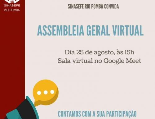 SINASEFE Rio Pomba convida filiados e demais servidores para Assembleia Geral Virtual